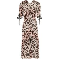 Animale ruched leopard-print silk crepe de chine midi dress