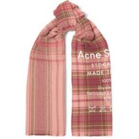 Cassiar printed checked wool scarf